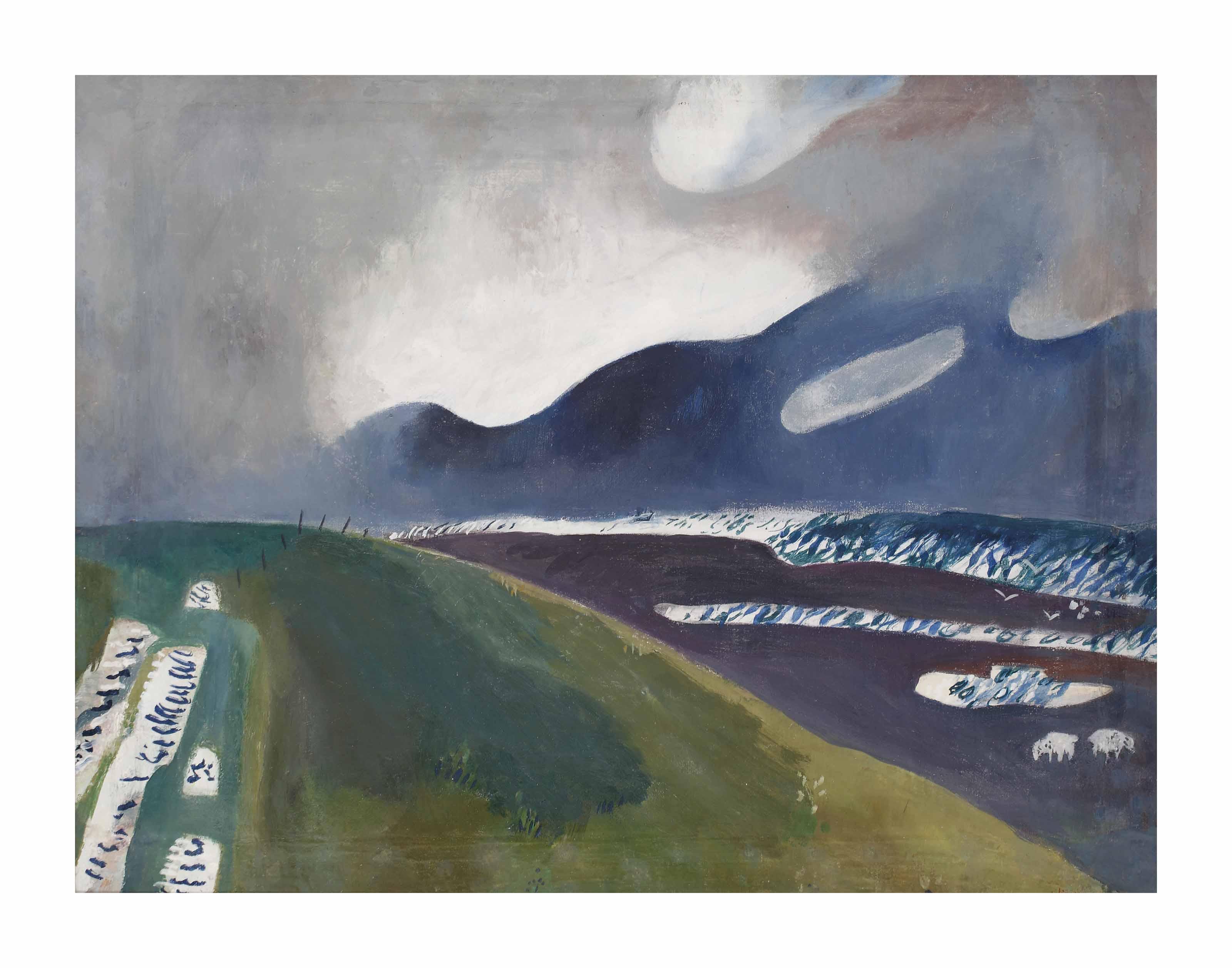 Waddendijk met schapen, Ameland (recto); Standing nude (verso)
