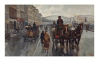 Horses and carriages on the Boompjes with the Maasbrug, Rotterdam
