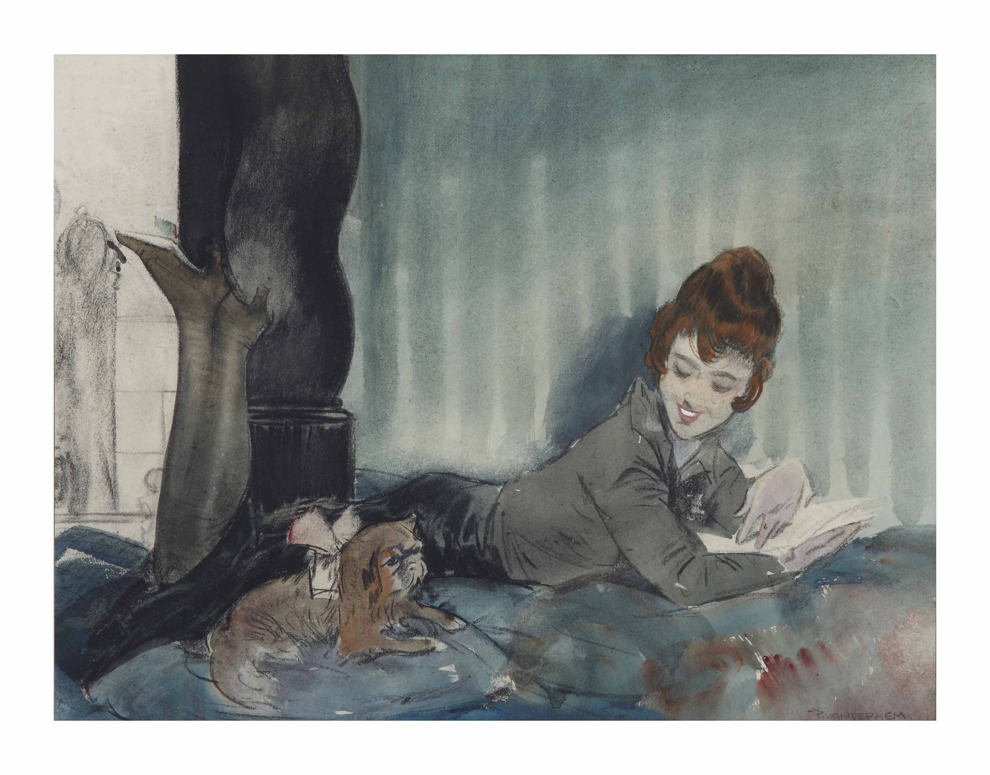 Reading woman with dog