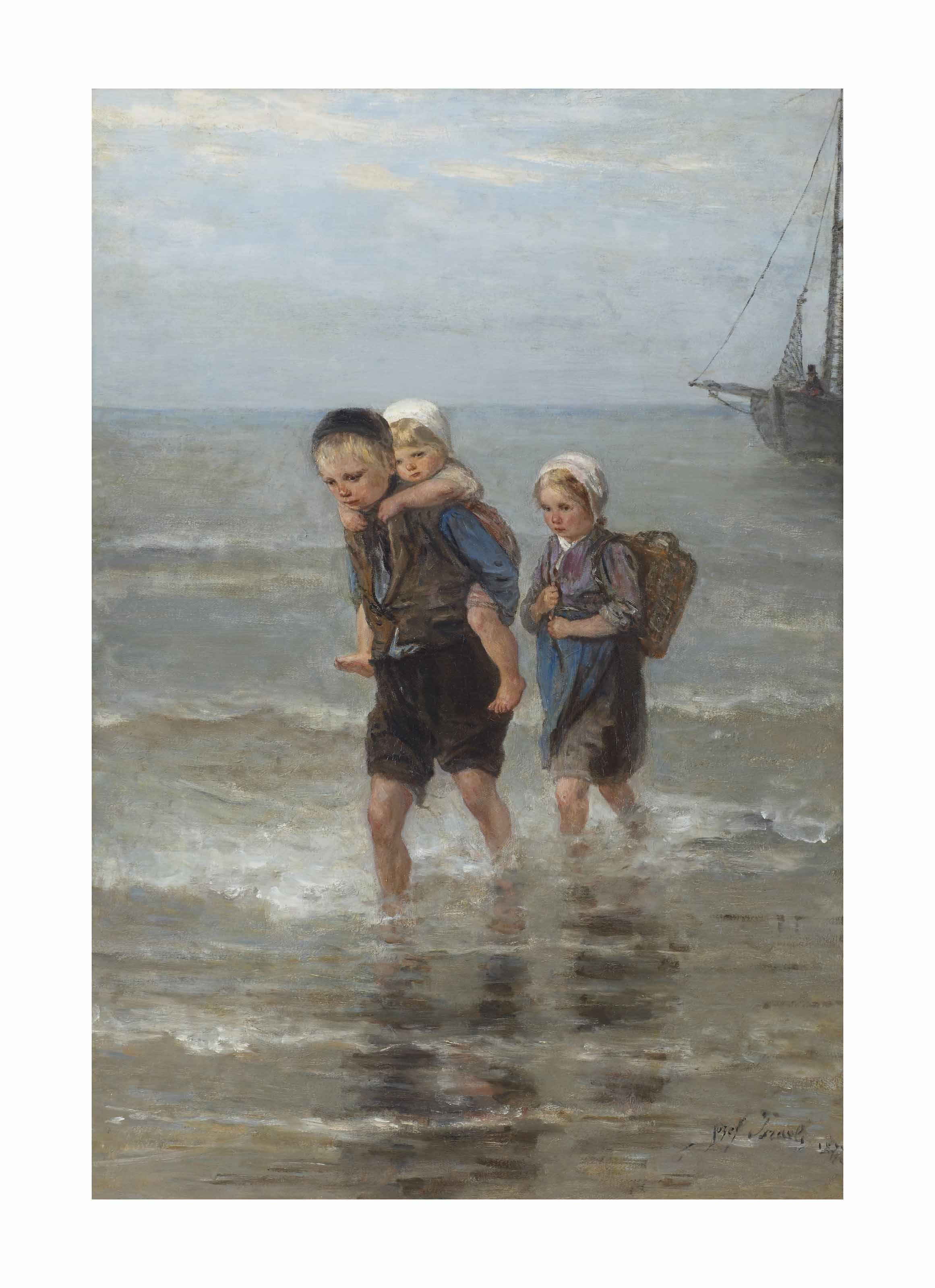 Children in the breakers