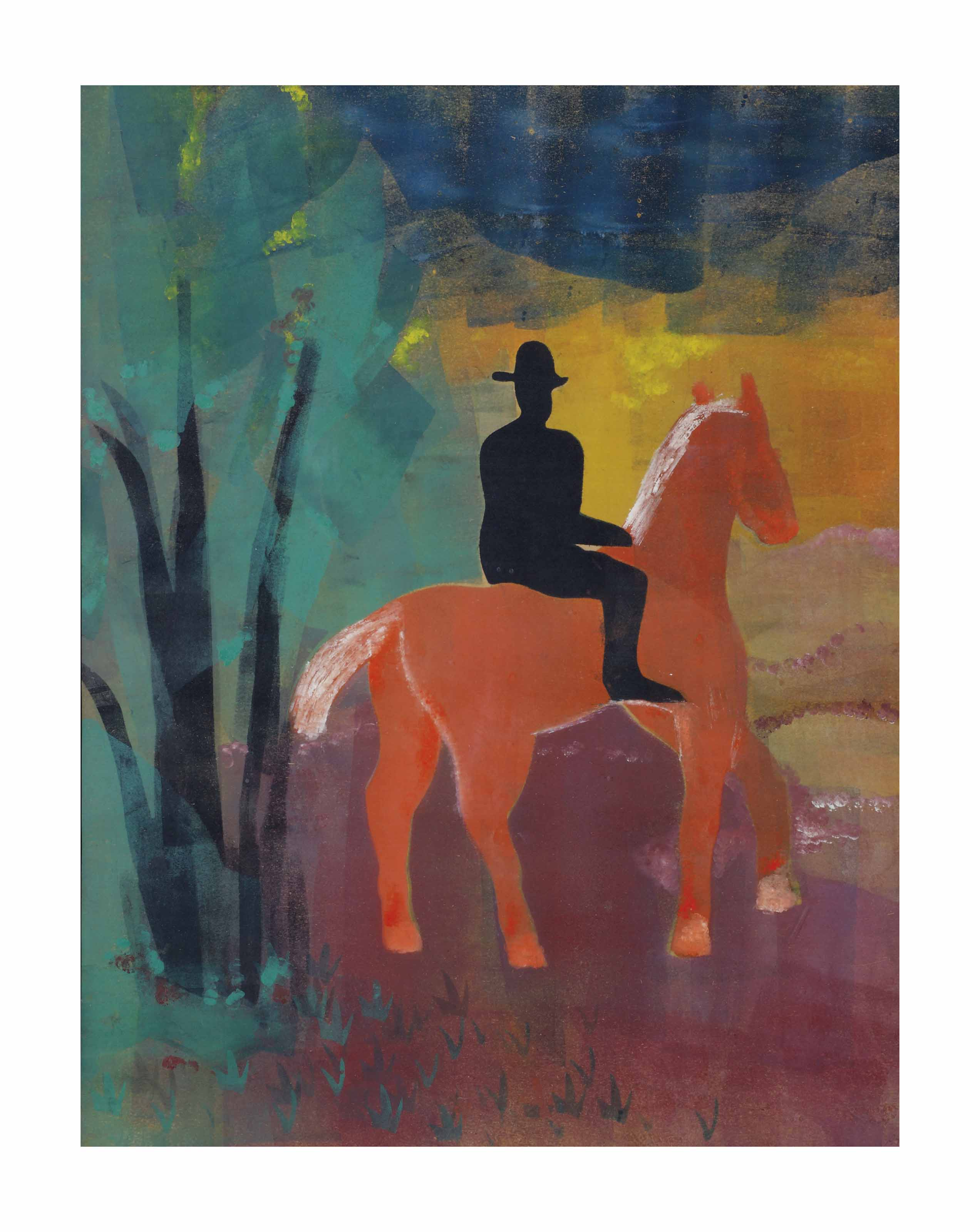 Rood paard met zwarte ruiter