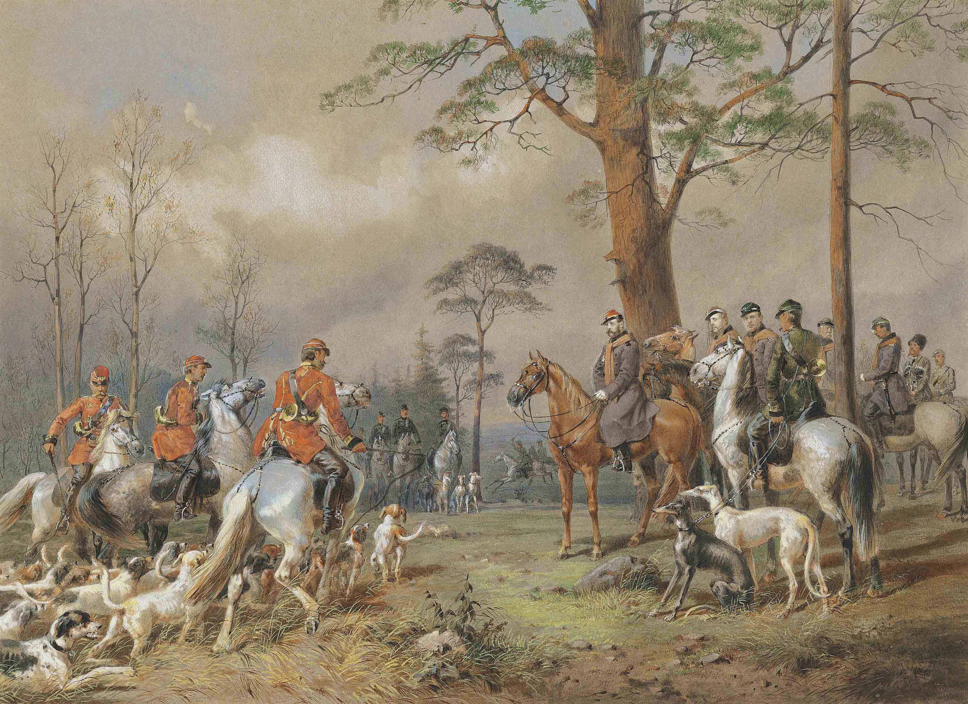 The hunting party of Emperor Alexander II