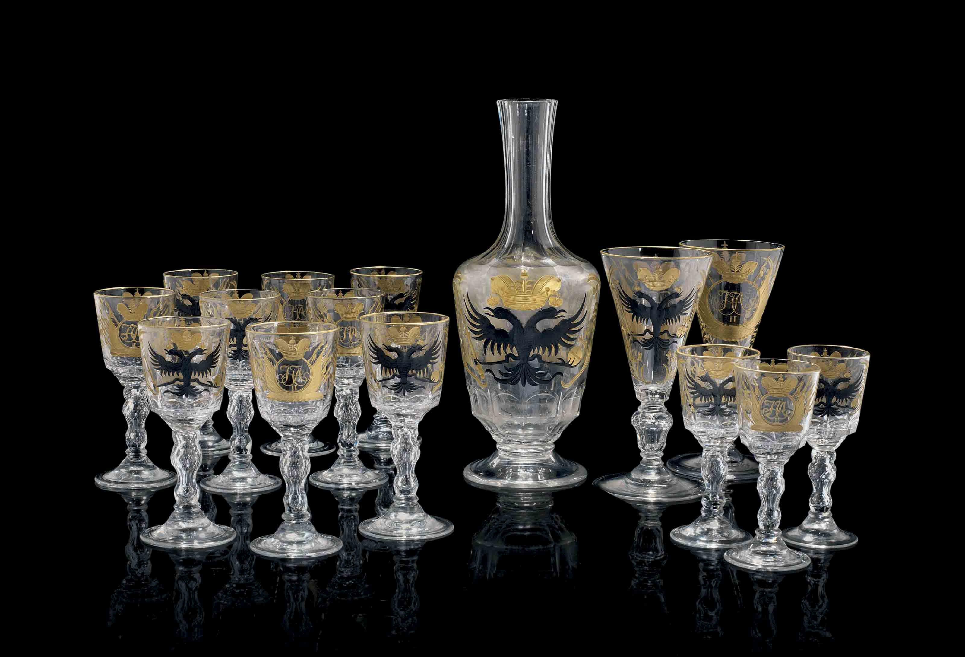 A RARE CUT AND ENGRAVED GLASS PART SERVICE FOR THE ROMANOV TERCENTENARY