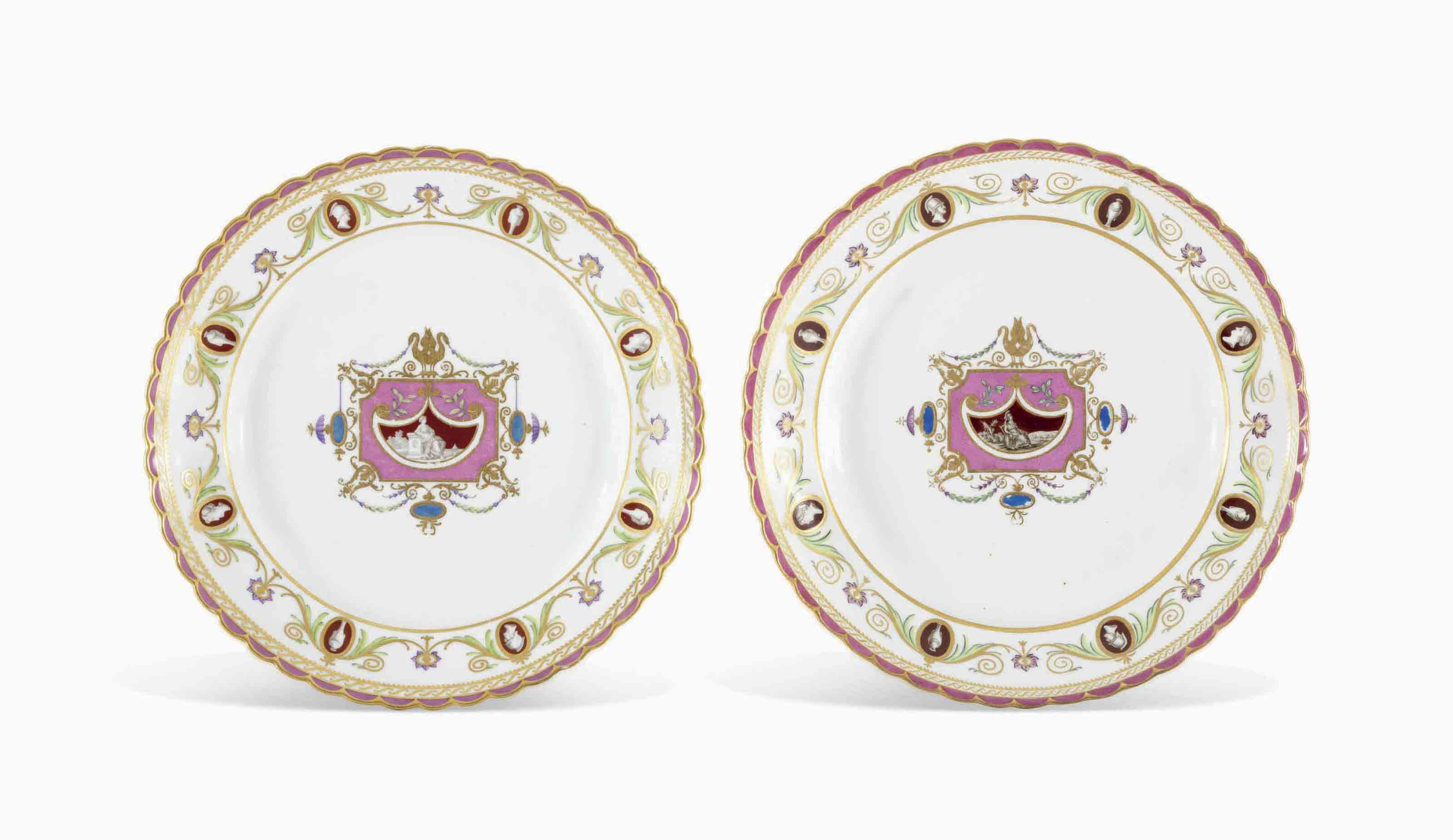 TWO PORCELAIN PLATES FROM THE ARABESQUE SERVICE
