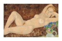 Reclining Nude with Flowers