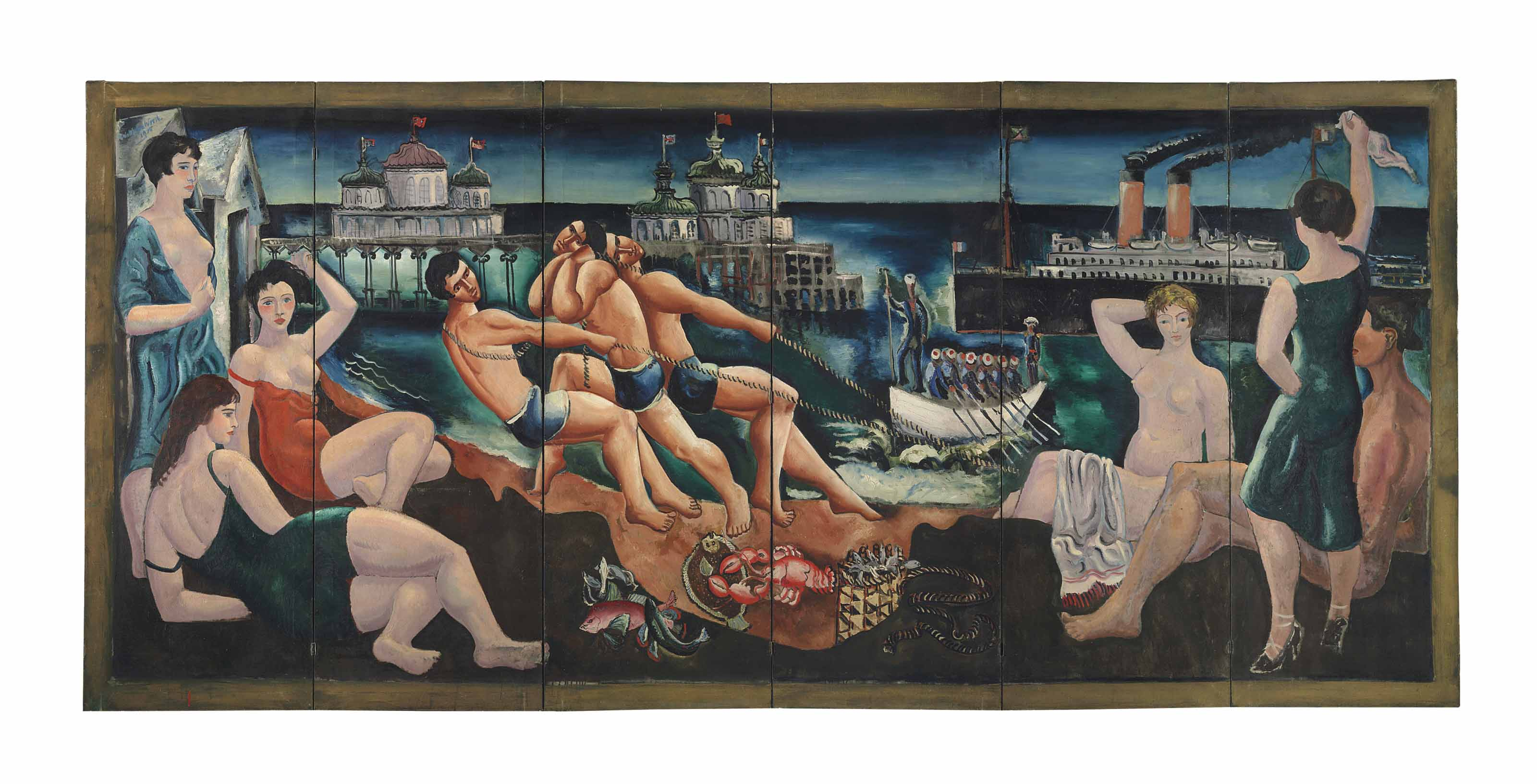 Beach Scene with Bathers, Pier and Ships