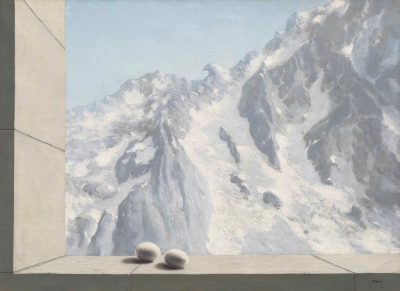 René Magritte (1898-1967), Le domaine dArnheim, 1938. Oil on canvas. 28⅝ x 39⅜  in (72.8 x 100  cm). Sold for £10,245,000 on 28 February 2017 at Christie's in London. Artwork © Rene Magritte, DACS 2020