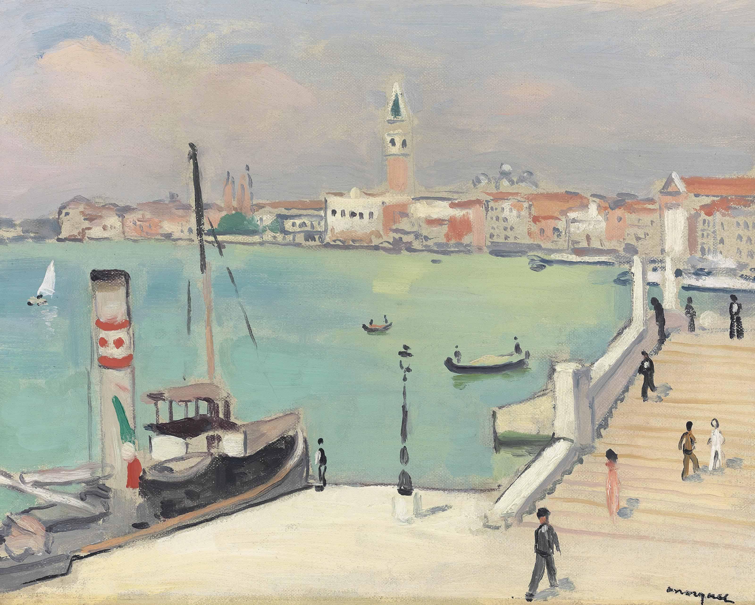 Venise, quai des Esclavons, le remorqueur à quai