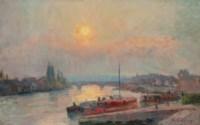 La Seine à Rouen, soleil couchant