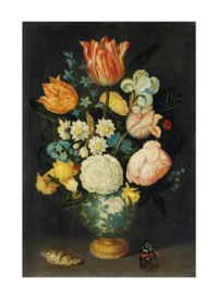 Flowers in a gilt-mounted Wan-li vase on a ledge, with a butterfly and shell