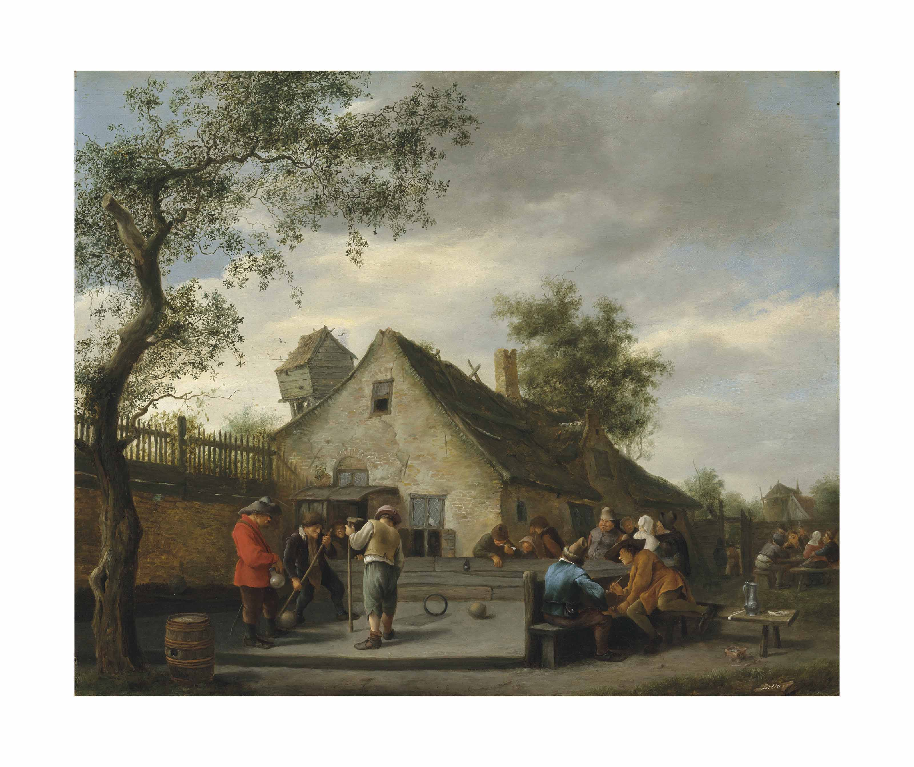 Boors playing a game of beugelen before a country inn, onlookers smoking beyond