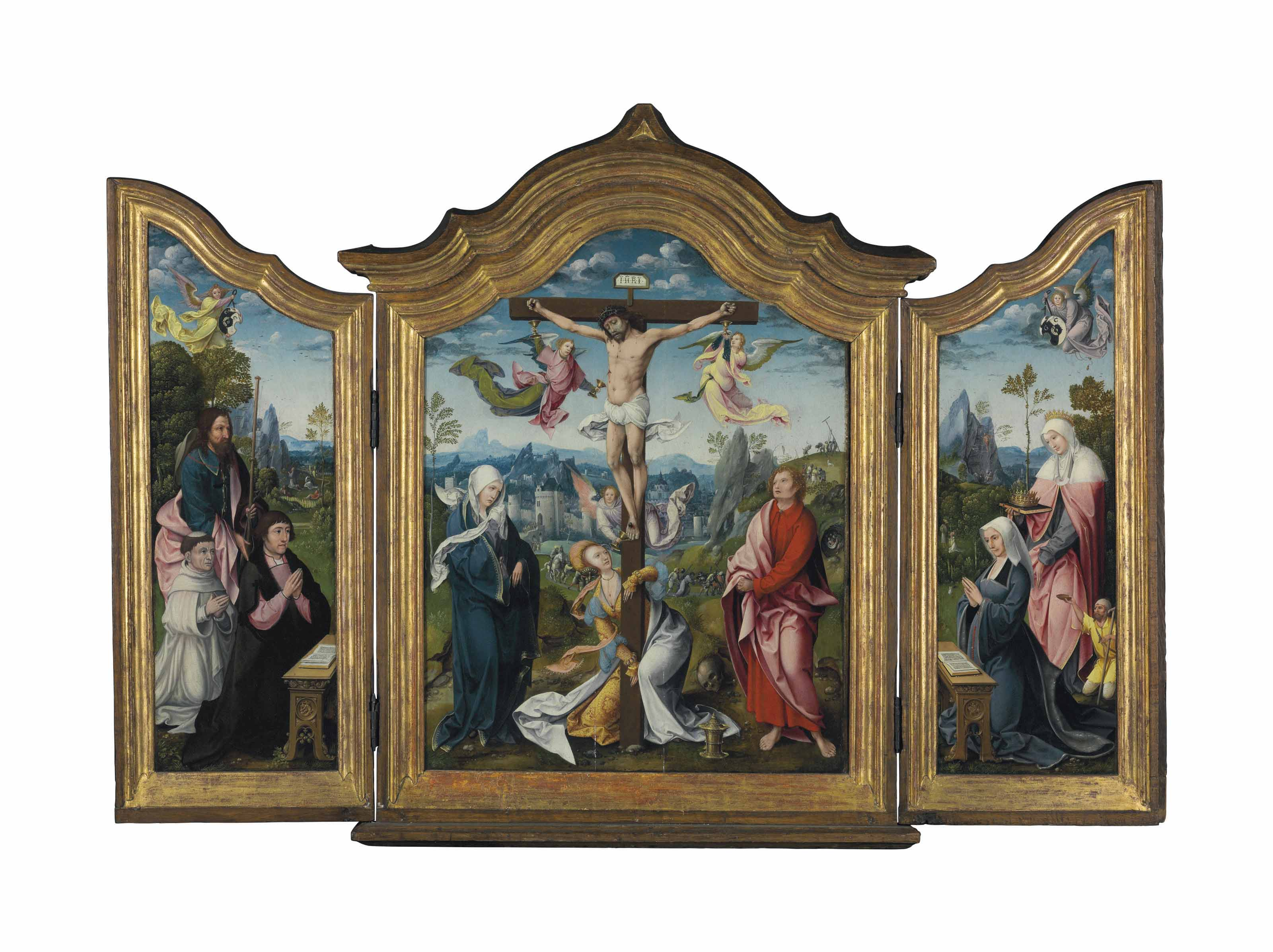 A triptych: the central panel: The Crucifixion; the wings: the inner faces: A Donor, Saint James, a Carthusian monk with an angel and Christ in the Garden of Gethsemane; A Donor, Saint Elizabeth of Hungary, a beggar with an angel and Christ Appearing to Mary Magdalene; the outer faces: Christ and the Virgin ministering to the damned