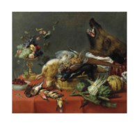 A draped table laden with game, fruit, vegetables and a boar's head