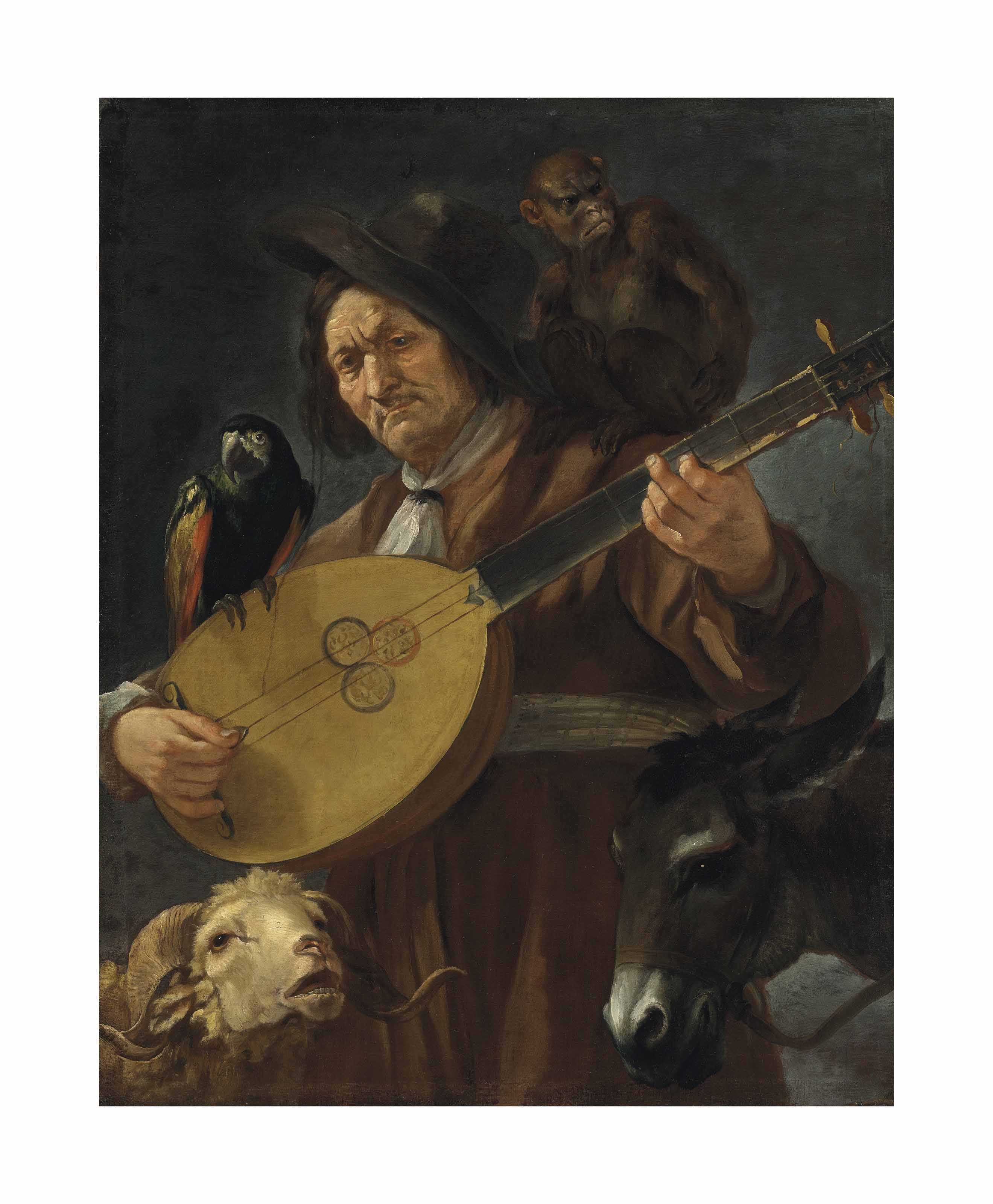 An Allegory: a man playing the calascione surrounded by a monkey, a parrot, a donkey and a ram