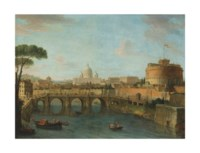The Tiber, Rome, looking towards the Castel Sant'Angelo, with Saint Peter's Basilica beyond