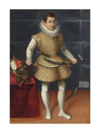 Portrait of a young nobleman of the Colonna family, possibly Giulio Cesare Colonna, Principe di Carbognano (1602-1681), full-length, in an embroidered jerkin and matching padded hose