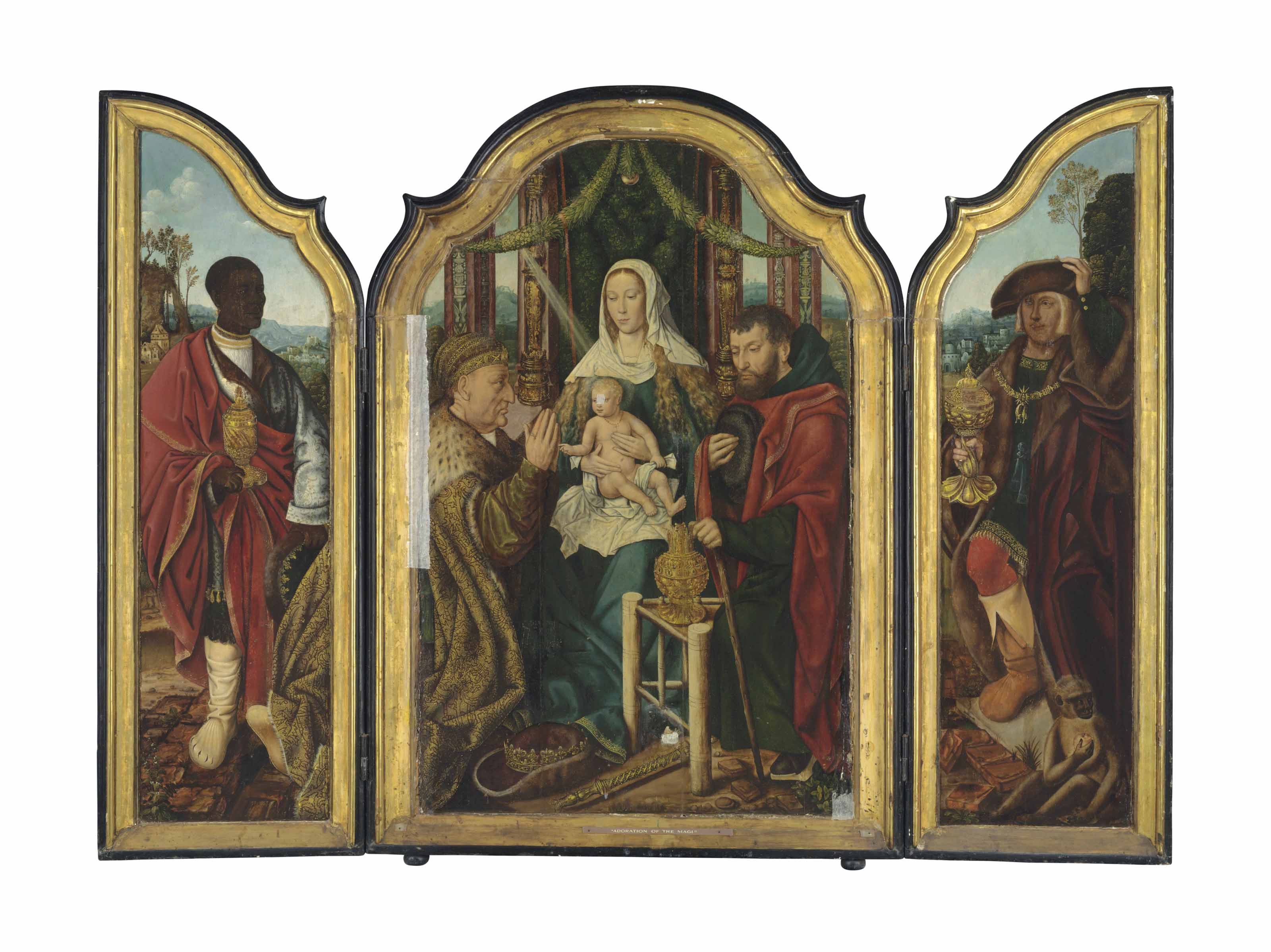 A triptych: central panel: The Holy Family with Frederick III, Holy Roman Emperor as Melchior offering gold to the Christ Child; left wing: Balthasar offering myrrh; right wing: Maximilian I, Holy Roman Emperor, as Caspar offering incense; outer panels: The Annunciation