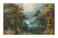 An extensive wooded river landscape with a hunting party, a village beyond