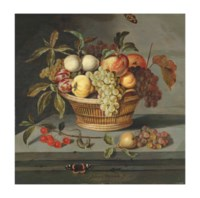 Fruit in a wicker basket with a lizard and a Red Admiral butterfly on a stone ledge