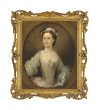 Portrait of a lady, traditionally identified as Margaret Peg Woffington (1720-1760), half-length, in a white satin dress with a pink rose, in a painted oval