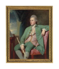 Portrait of Francis Lind (1752/3-1840), three-quarter-length, seated at a window, a one-keyed Simpson ivory flute in his right hand