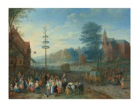 A village kermesse with figures dancing around a maypole
