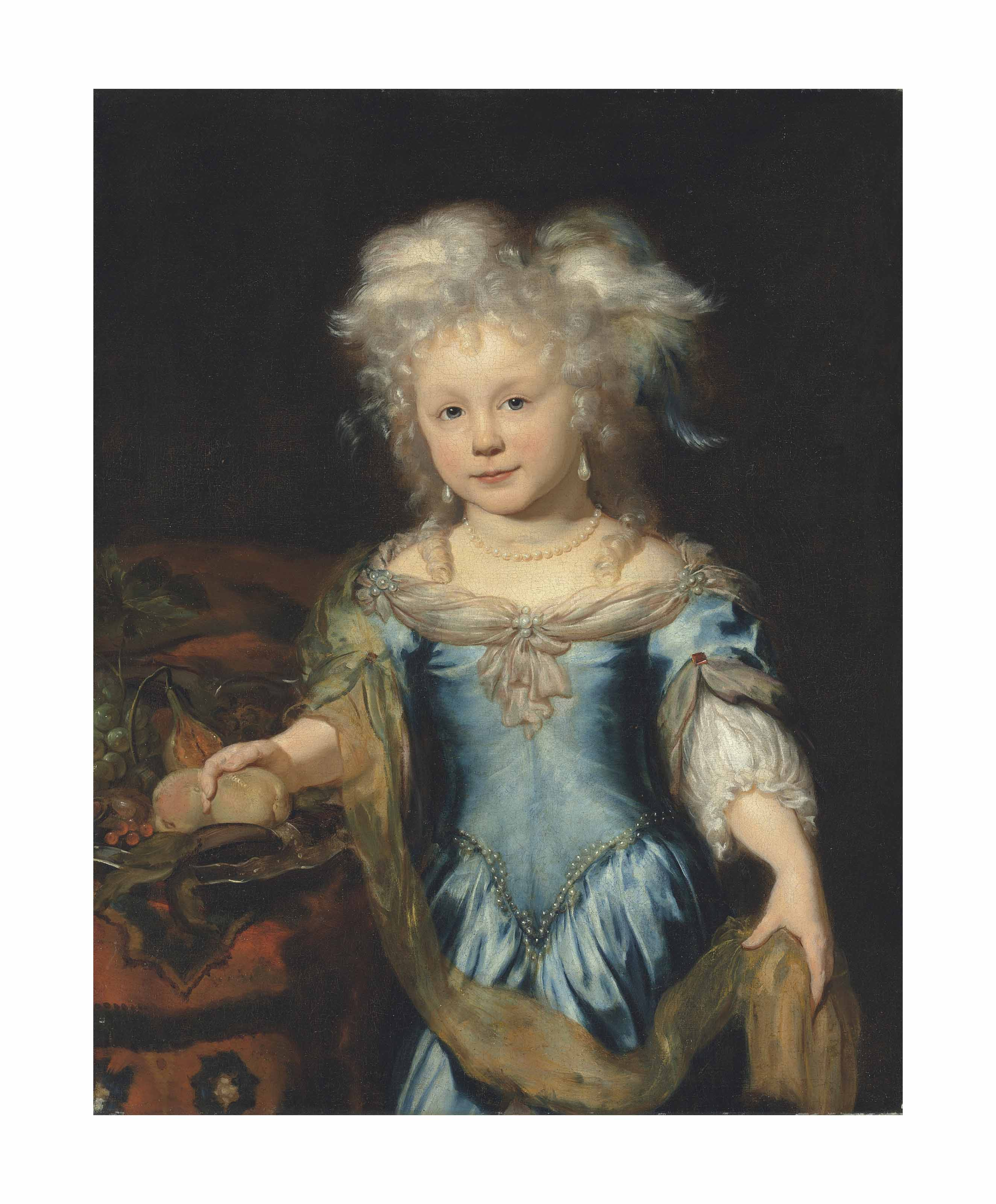 Portrait of a girl, three-quarter-length, in a blue dress by a fruit bowl on a draped table