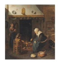 An interior with figures making pancakes by a fire