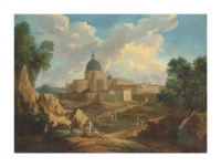 An wooded landscape with figures on a path overlooking St. Peter's Basilica, Rome