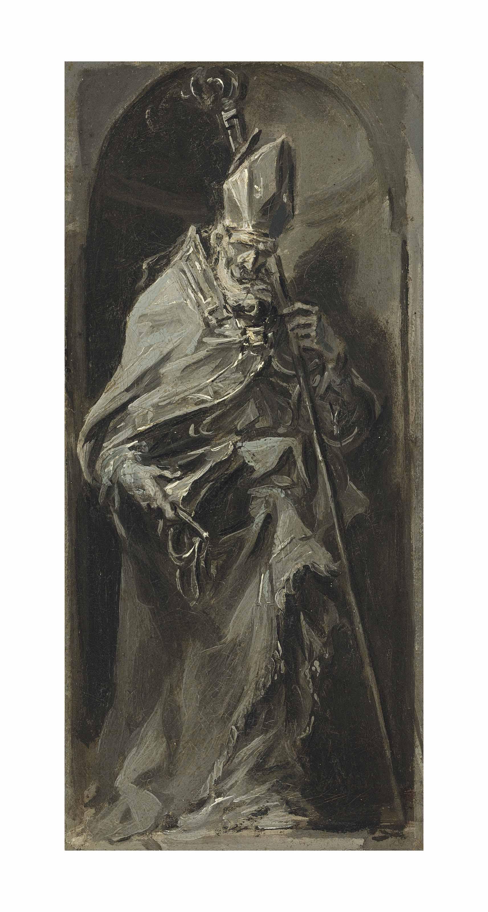 Saint Ambrose standing in a niche - en grisaille, a bozzetto