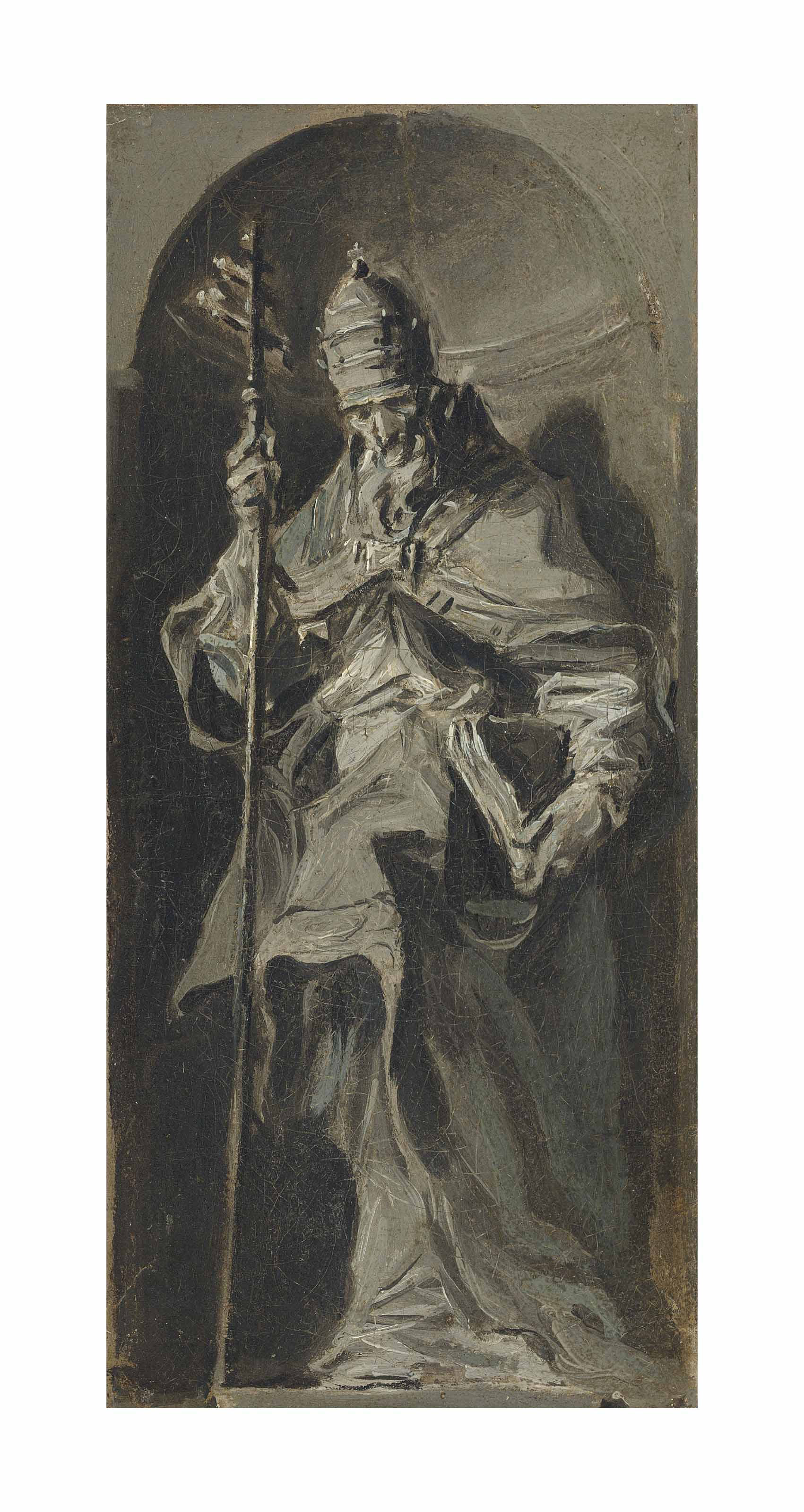 Pope Saint Gregory the Great standing in a niche - en grisaille, a bozzetto