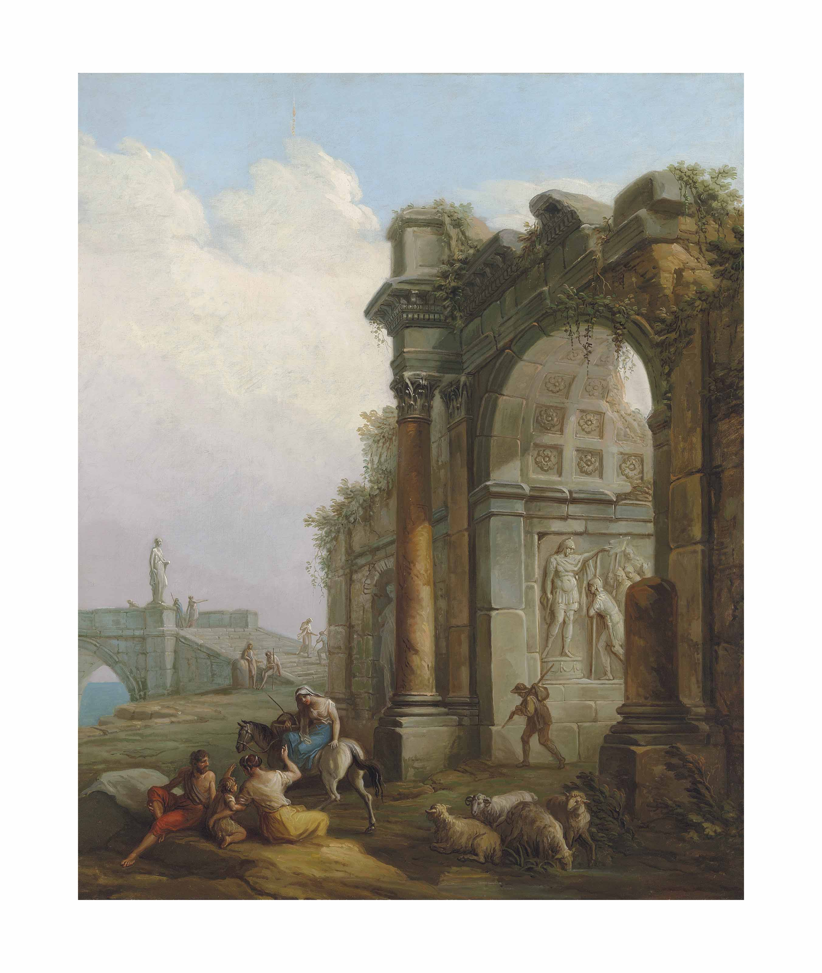 A ruined triumphal arch with figures conversing on path, a bridge beyond