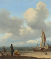 An extensive seascape with figures by a boat on a shore