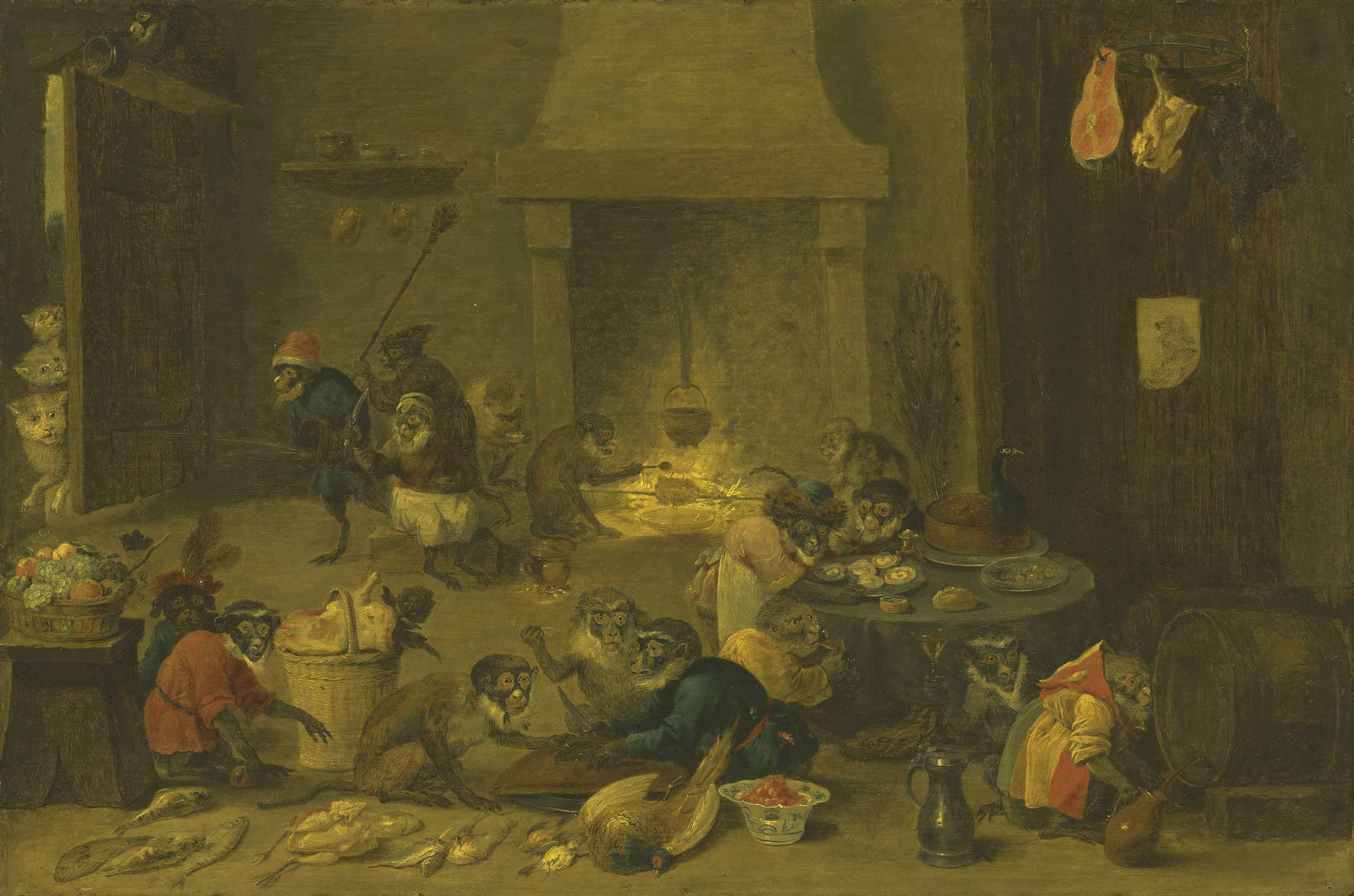 Monkeys cooking in a kitchen