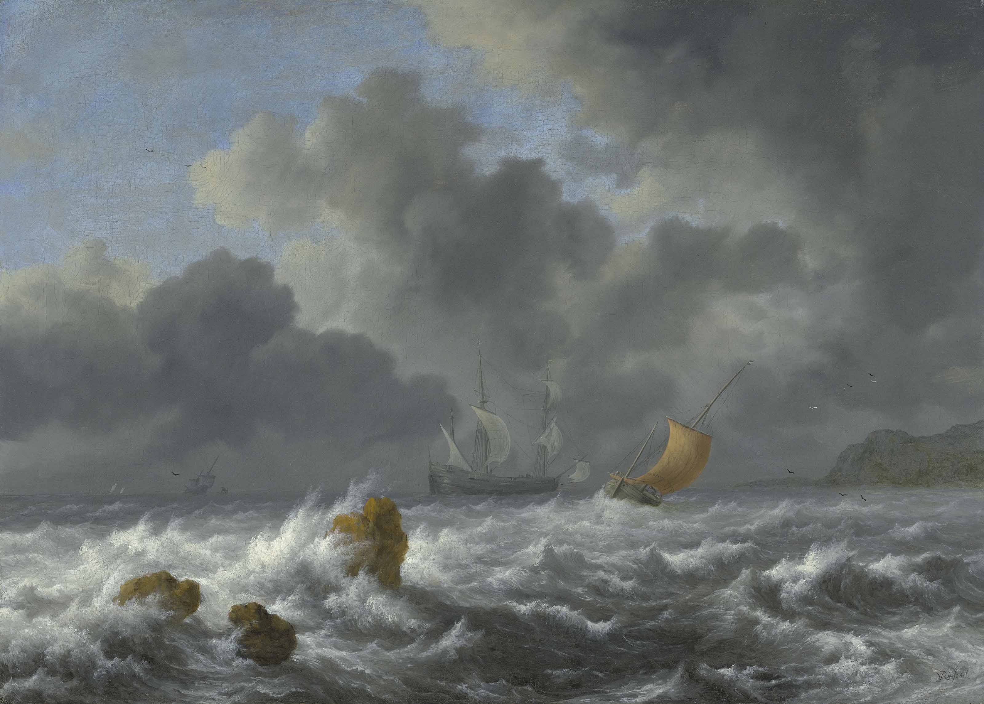 Sailing vessels in a stormy sea near a rocky coast