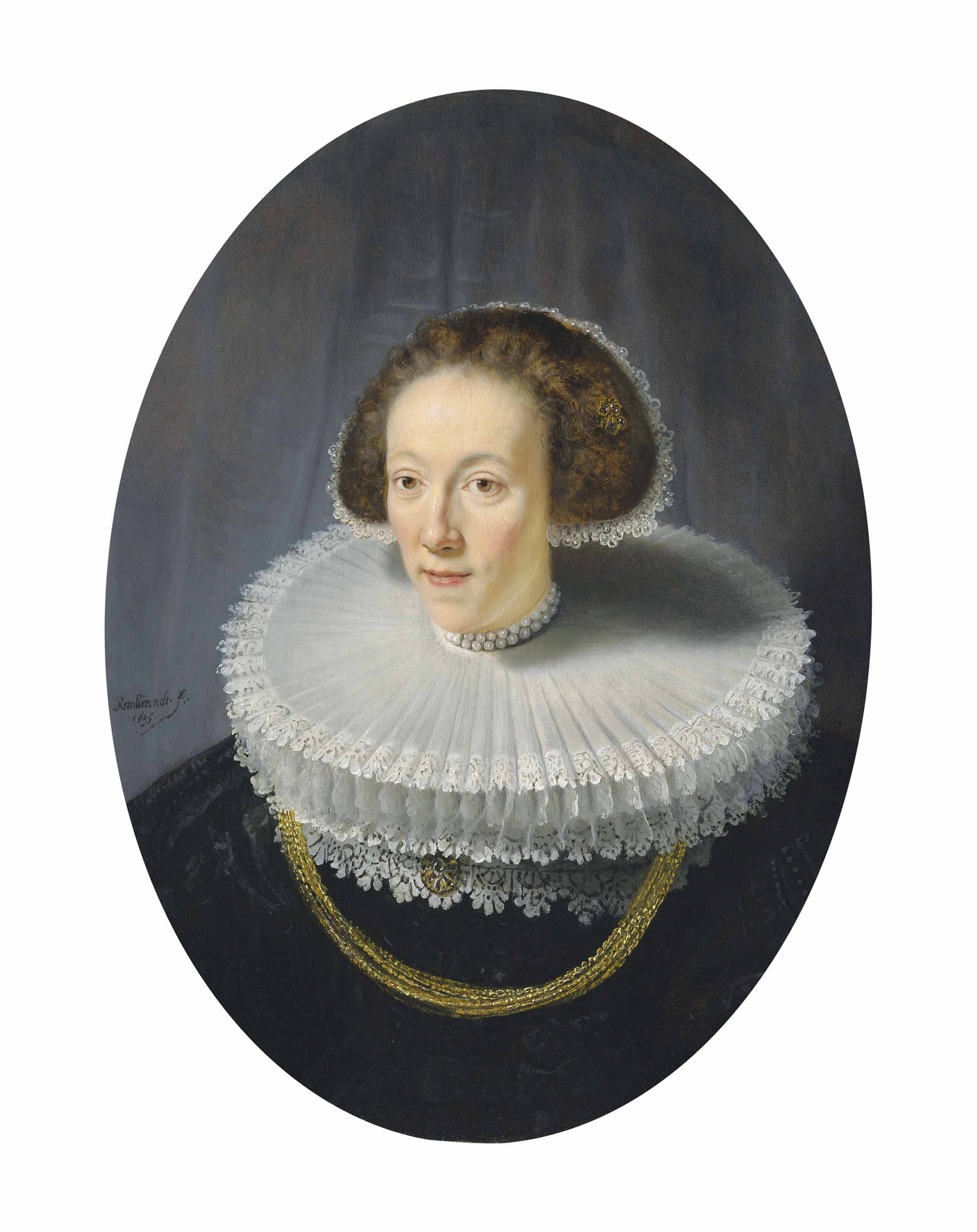 Portrait of Petronella Buys (1610-1670), bust-length, in a brocaded black gown, bobin lace-trimmed double cartwheel ruff and pearled diadem cap