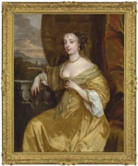 Portrait of a lady, traditionally identified as Barbara Palmer, née Villiers (1640-1709), Countess of Castlemaine and 1st Duchess of Cleveland, three-quarter-length, in a yellow dress, a coastal landscape beyond
