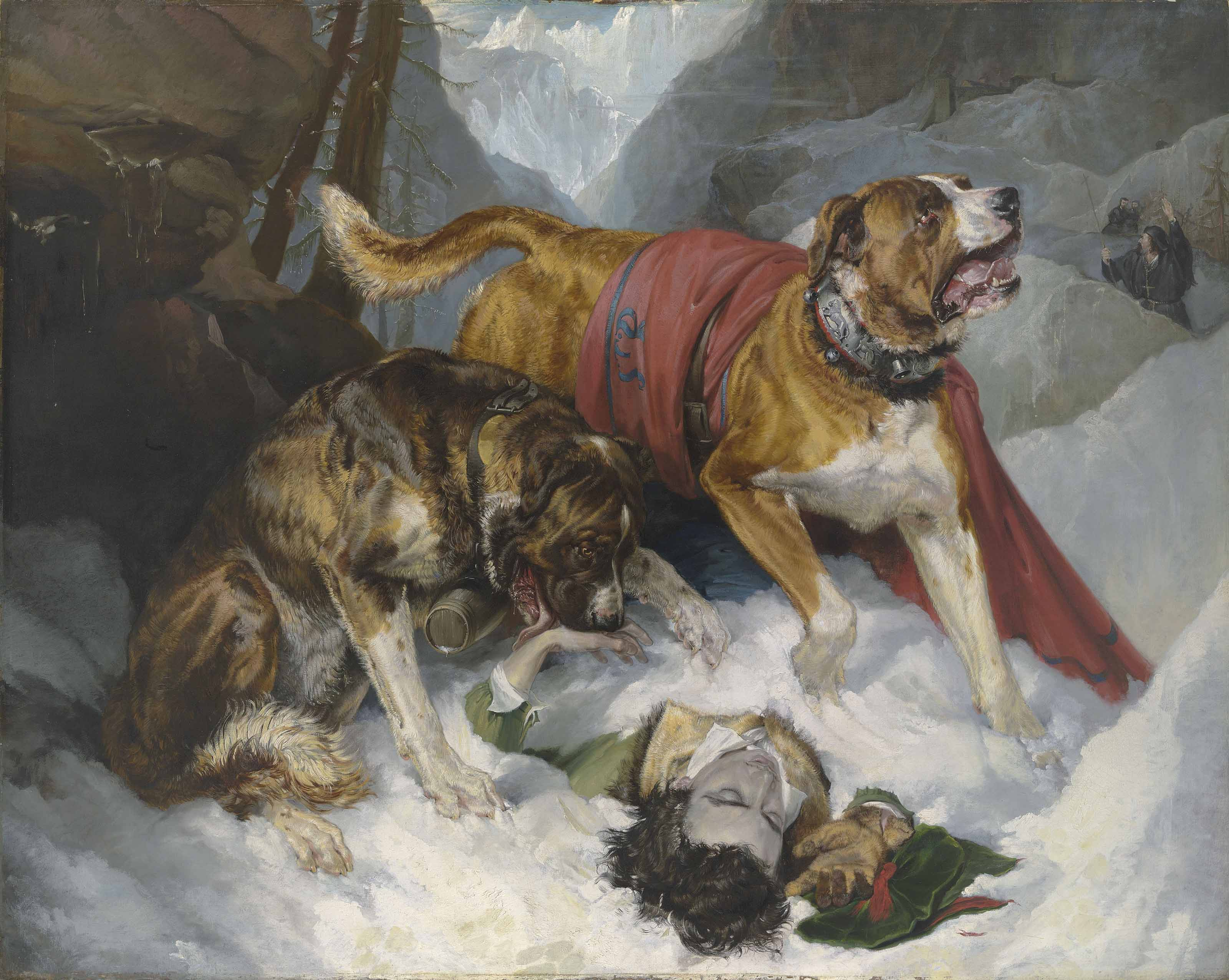 Alpine Mastiffs Reanimating a Distressed Traveller