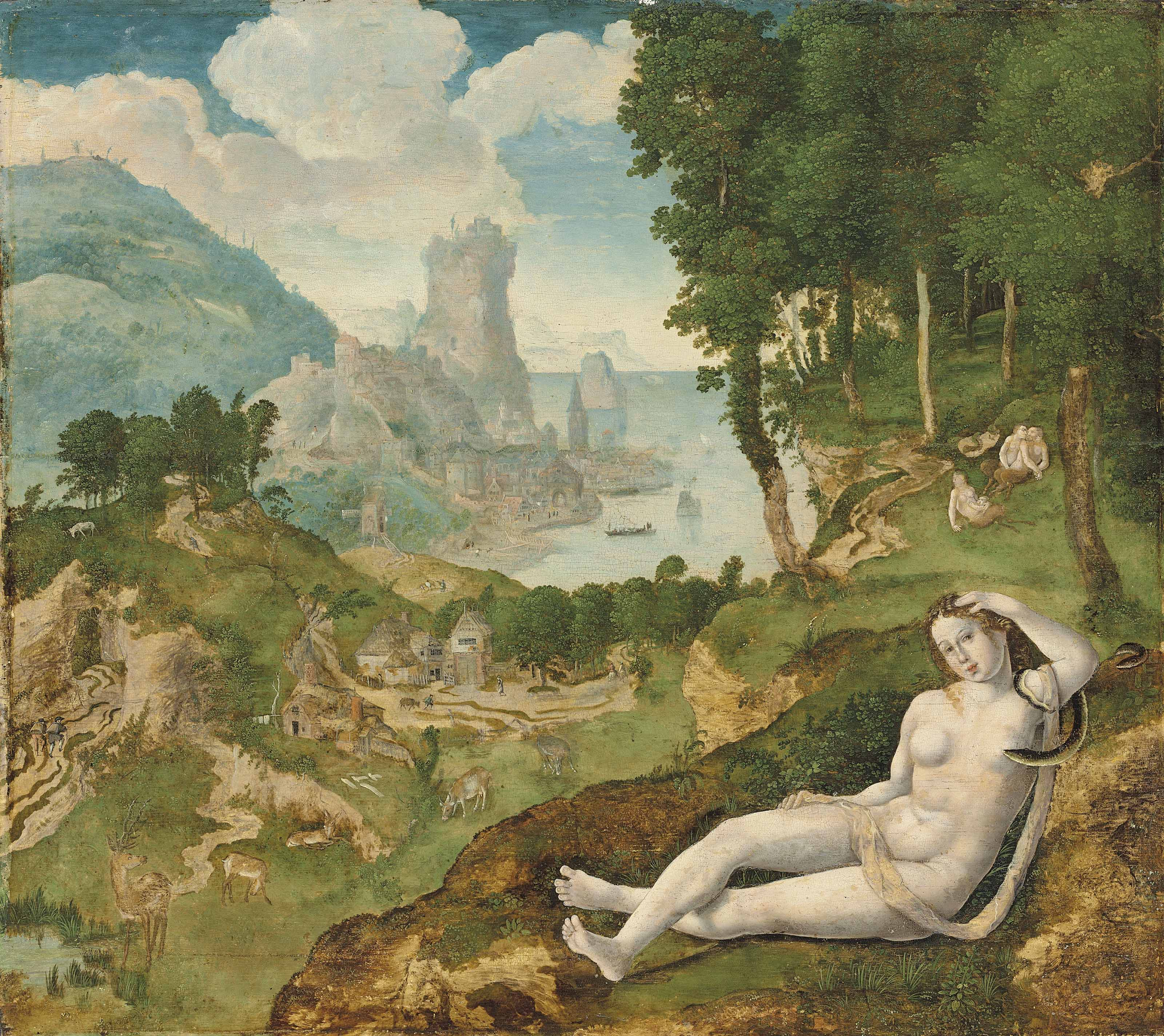 A nymph, or possibly Ariadne, reclining in an extensive mountainous seascape by cavorting satyrs, a village beyond
