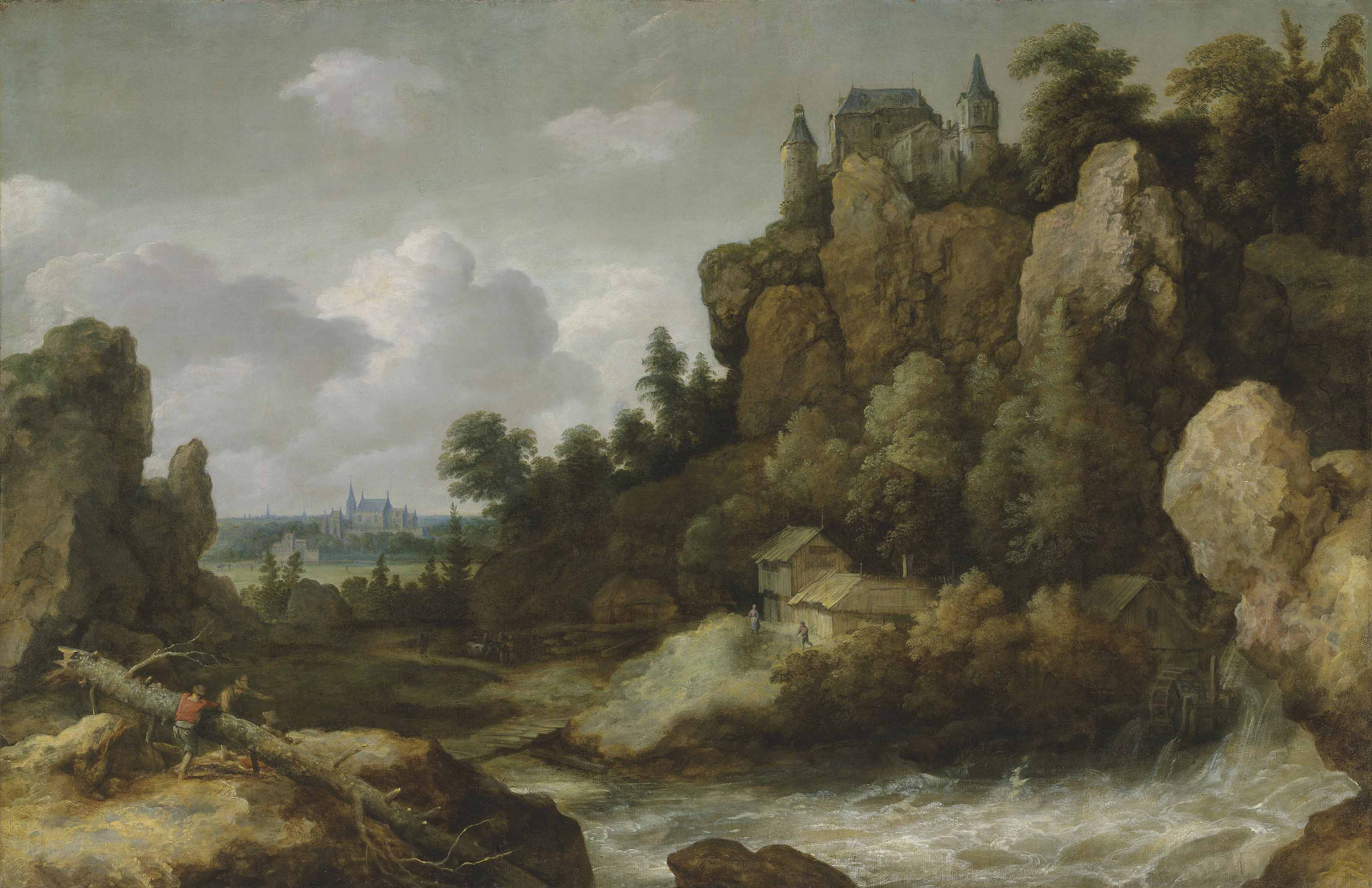 An extensive landscape with a waterfall, with a hilltop castle and a village beyond