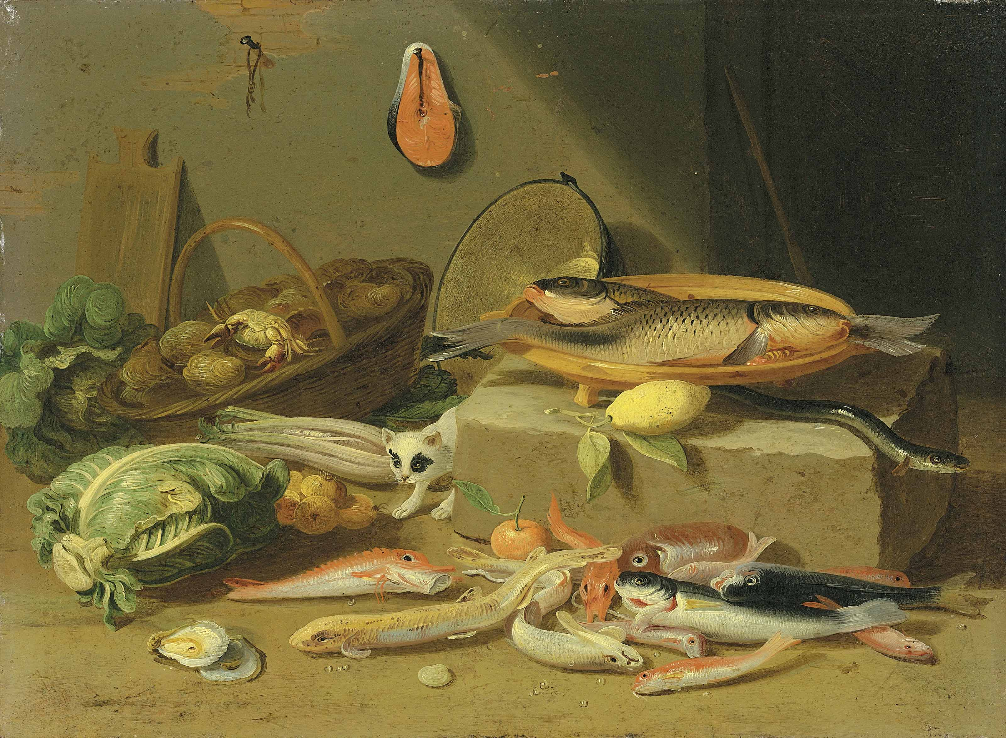 A pantry with a cat prowling among fish and vegetables