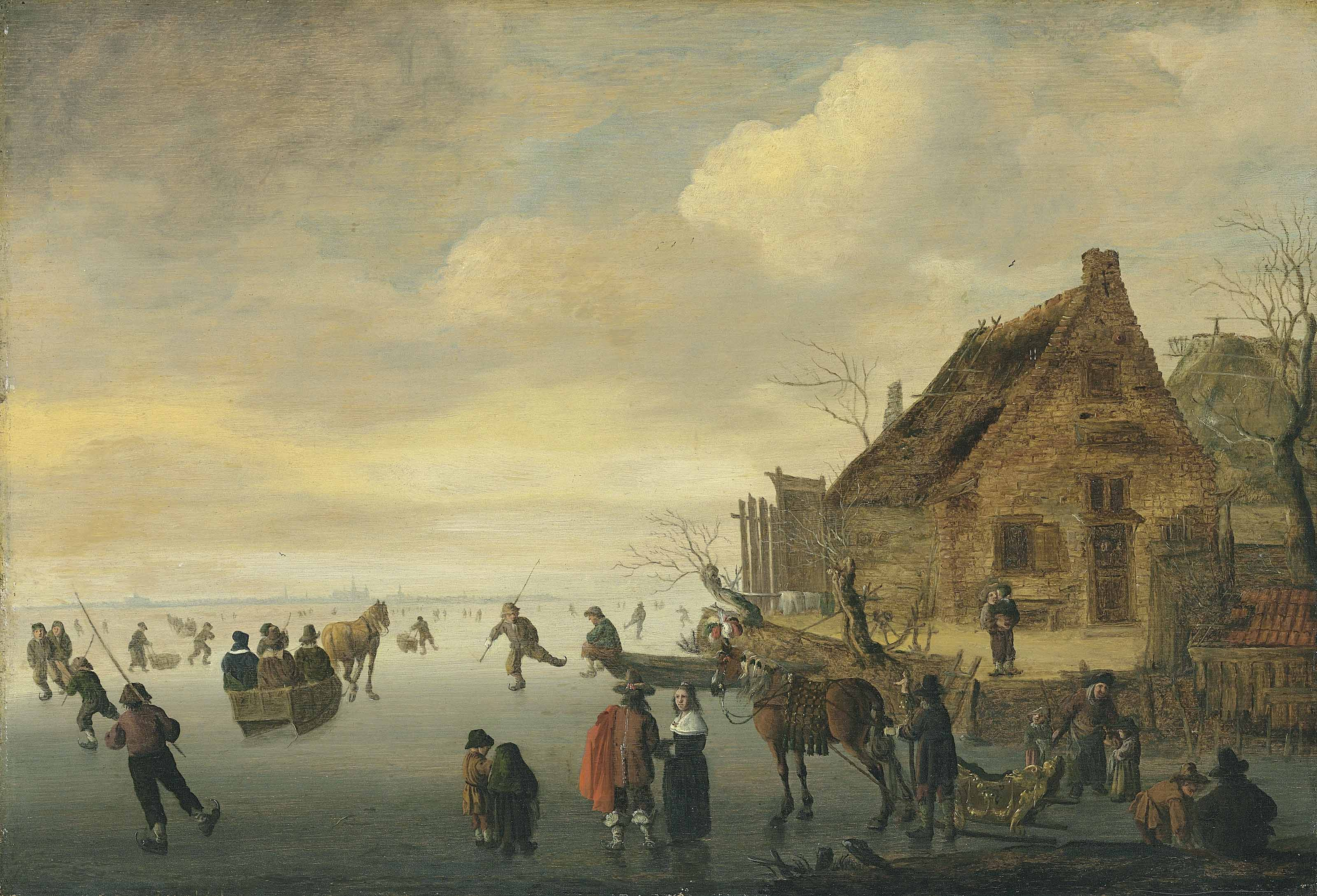A winter landscape with horse-drawn sledges and figures skating on a frozen lake by a rural village