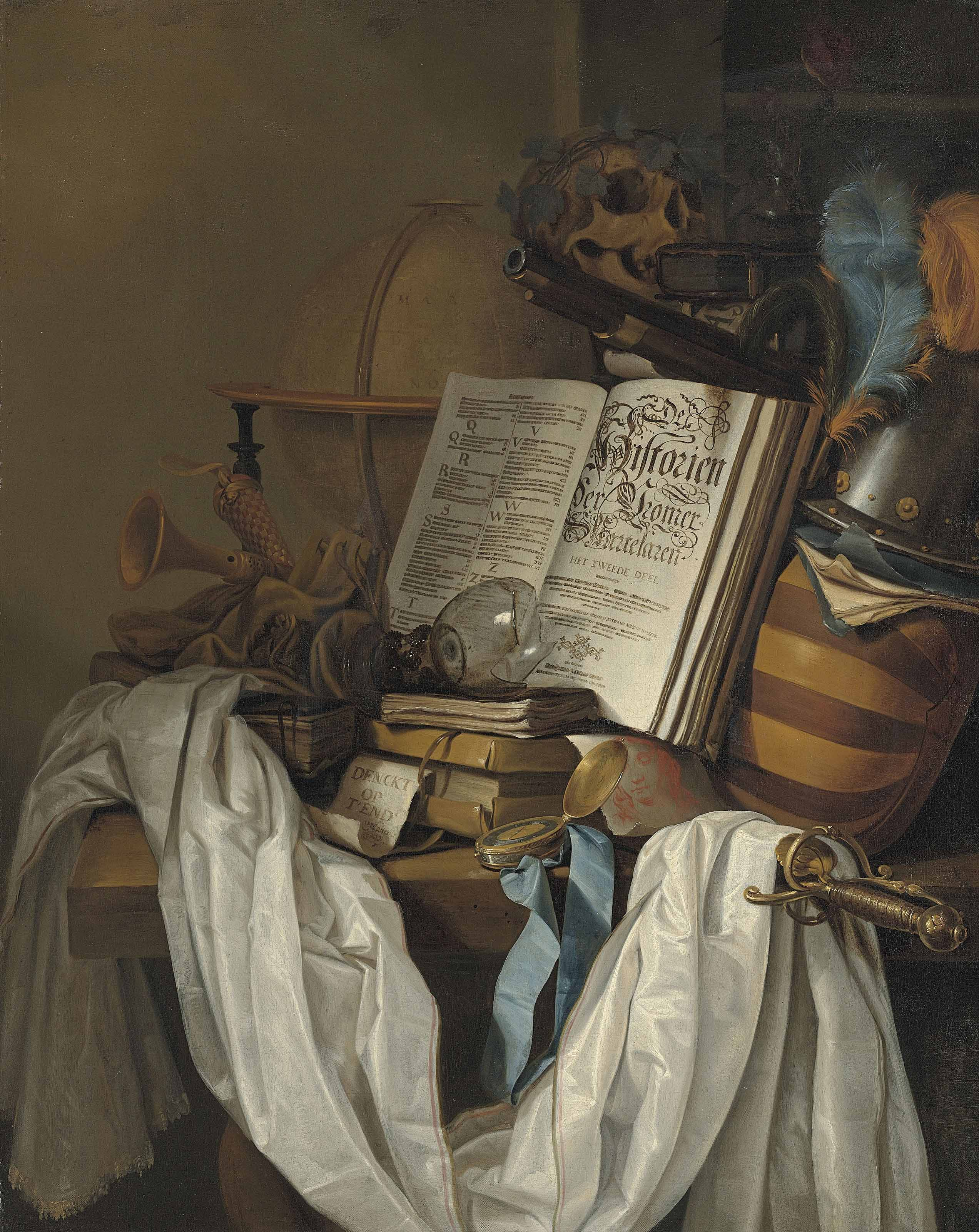 A globe, instruments, books, a broken upturned roemer, a skull and weapons on a partially draped table