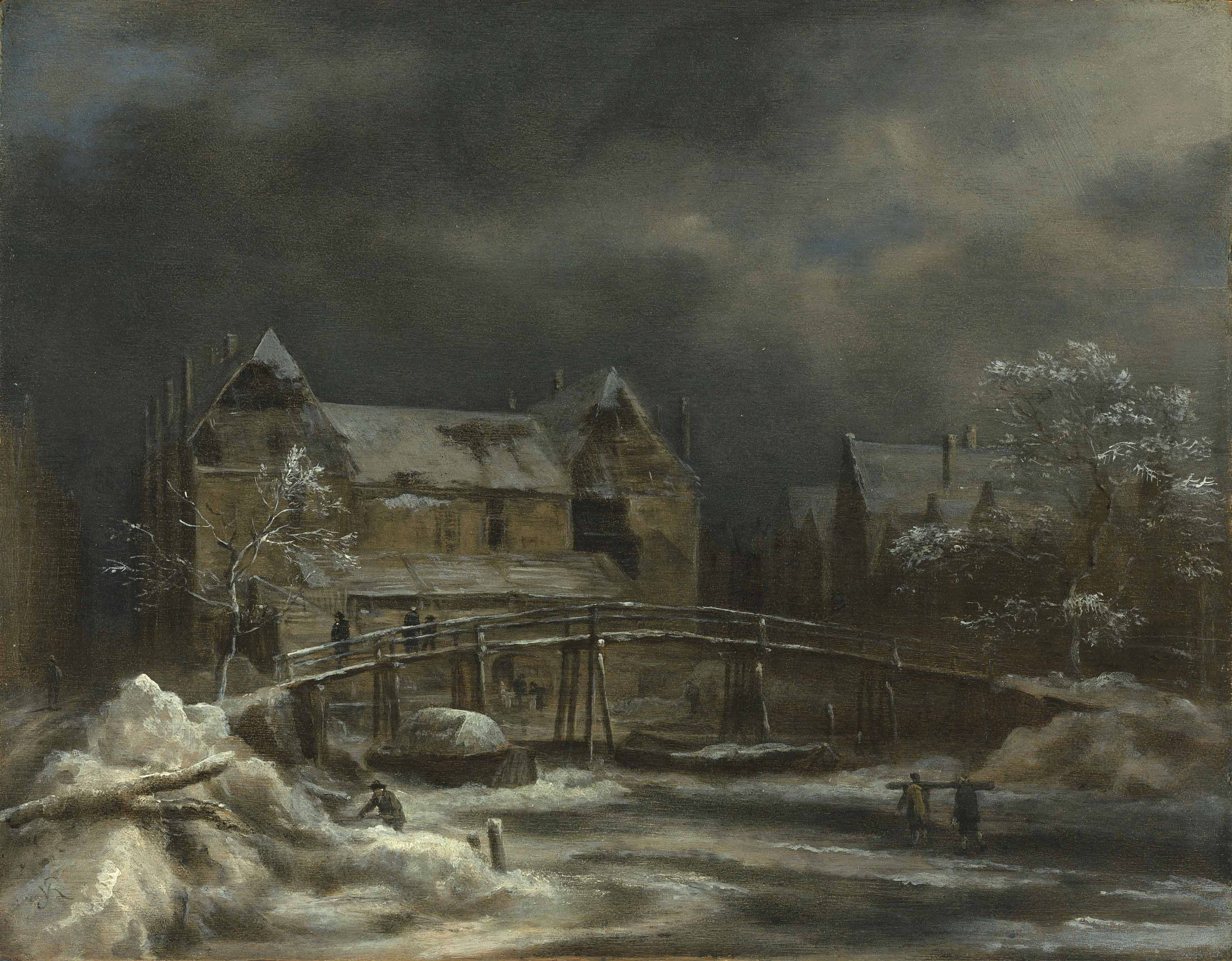 A winter landscape with a view of a town and wooden bridge