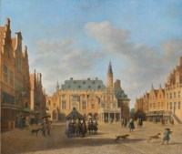The Grote Markt, Haarlem, looking west, with the town hall and figures conversing in the market square