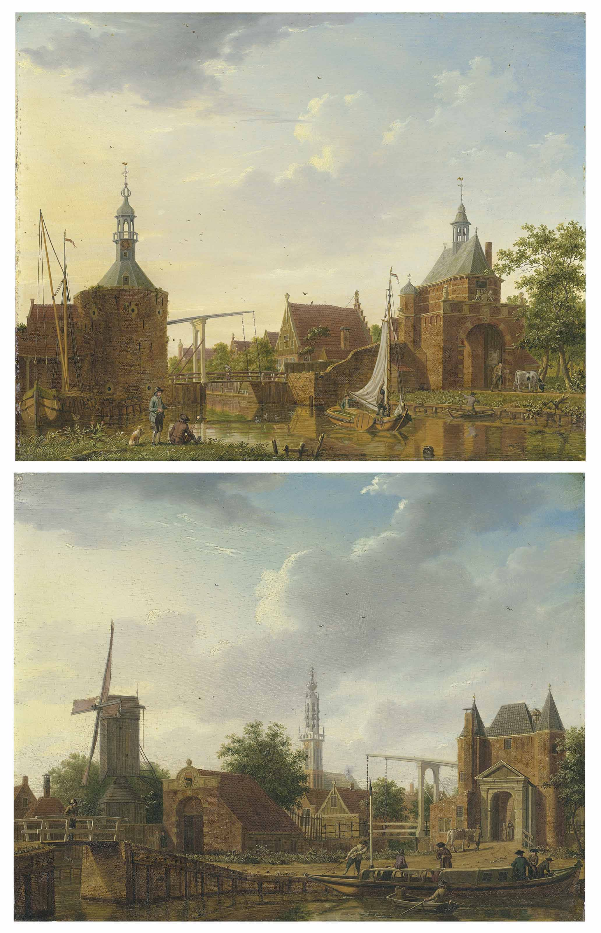 The Keetpoort en Oost and Kaaipoort, Edam; and Purmer and Monnikendammerpoort, Edam with the Kwakelbrug with the spire of the Onze-Lieve-Vrouwe-kerk beyond