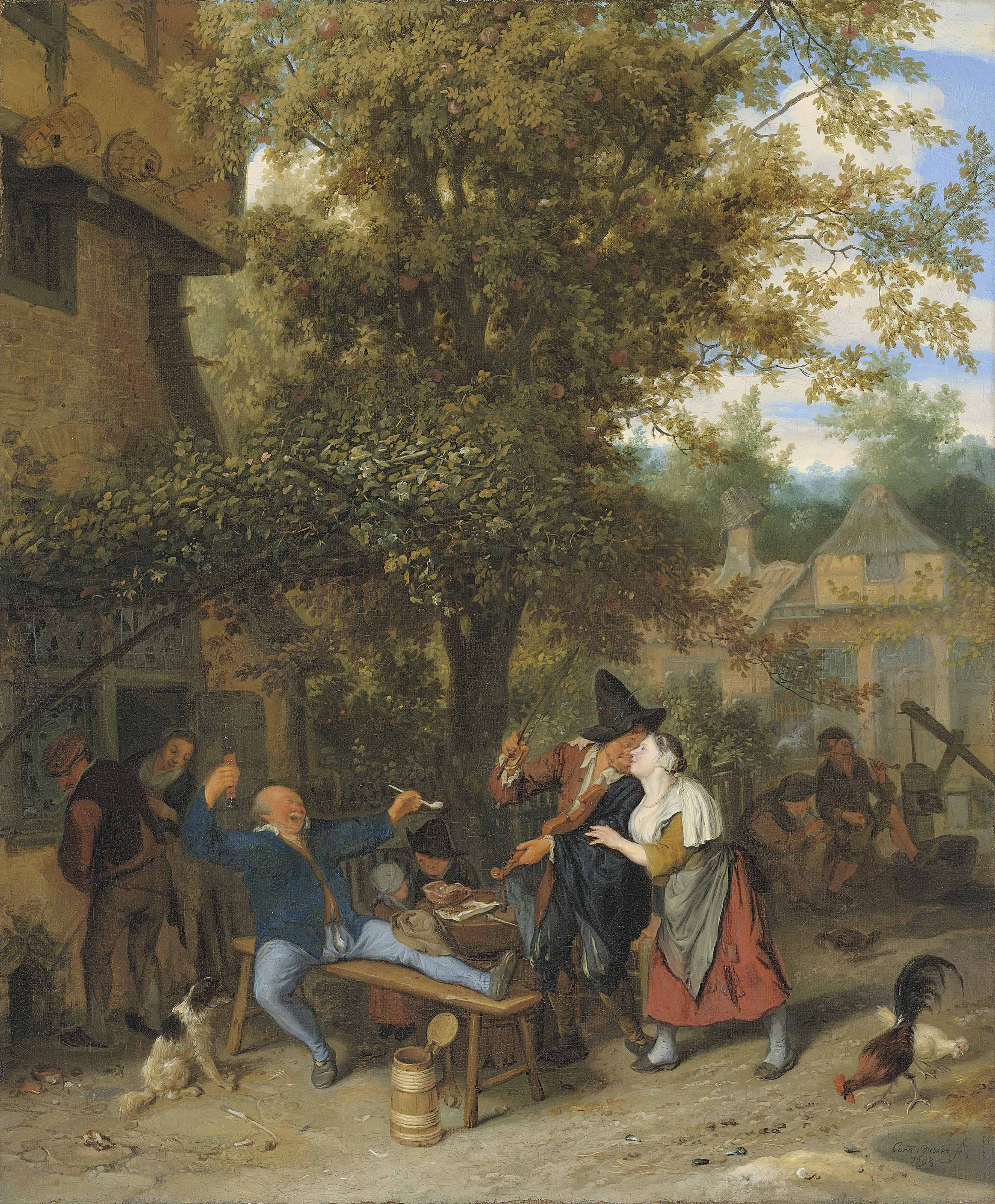 A fiddler and peasants drinking and carousing outside a village inn