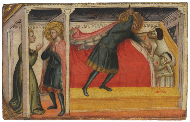 Saint Julian the Hospitaller kills his father and mother and confesses to his wife by Stefano d'Antonio di Vanni (c.1460)