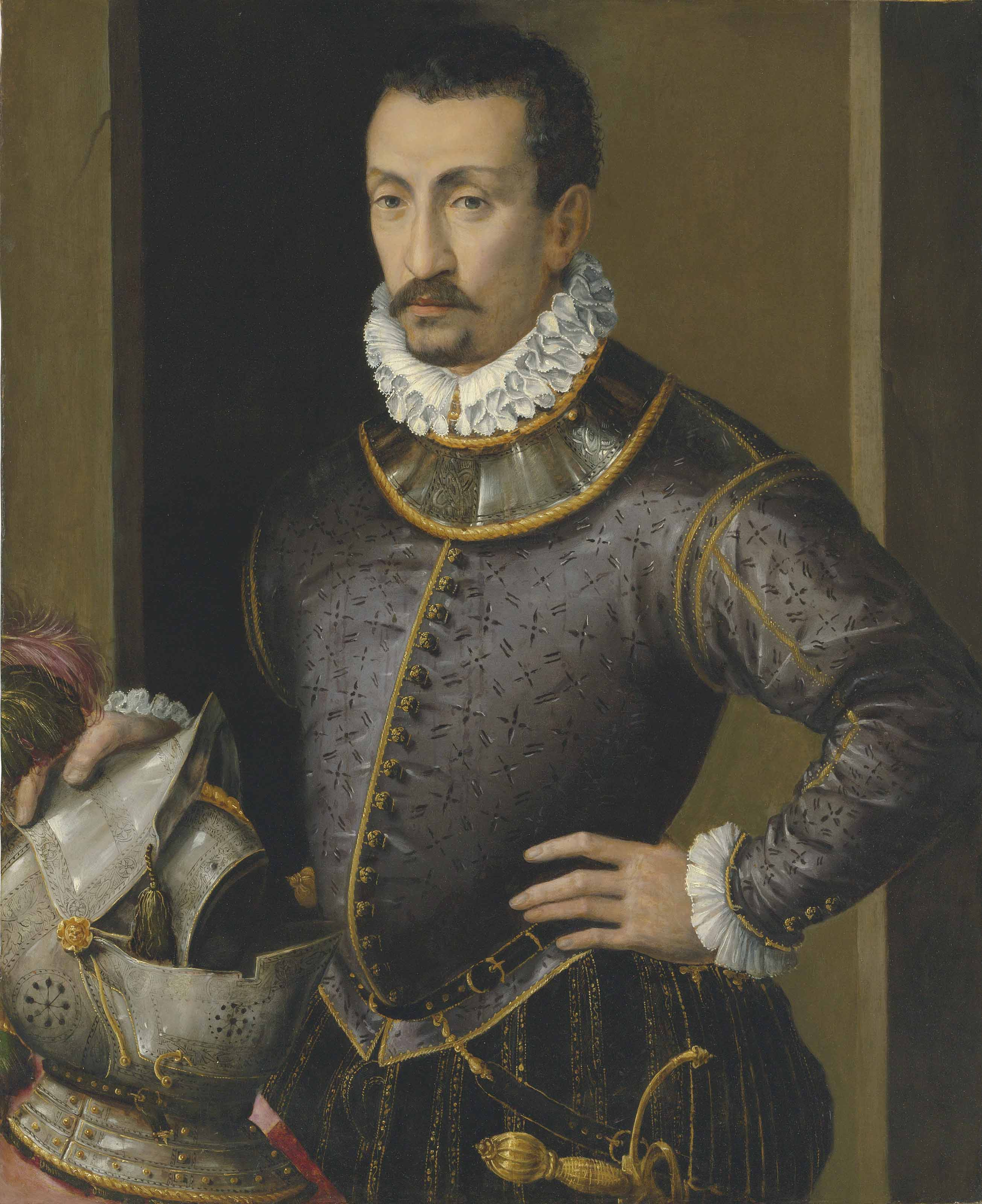 Portrait of a gentleman, half-length, in a black slashed doublet, his hand resting on a helmet