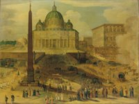 Saint Peter's Square, Rome, with a procession of cardinals and cannons firing in salute